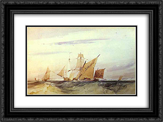 Shipping Off the Coast of Kent 24x18 Black or Gold Ornate Framed and Double Matted Art Print by Richard Parkes Bonington