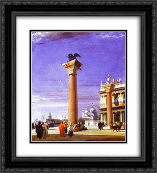St. Mark's Column in Venice 20x22 Black or Gold Ornate Framed and Double Matted Art Print by Richard Parkes Bonington