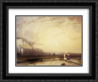 Sunset in the Pays de Caux 24x20 Black or Gold Ornate Framed and Double Matted Art Print by Richard Parkes Bonington
