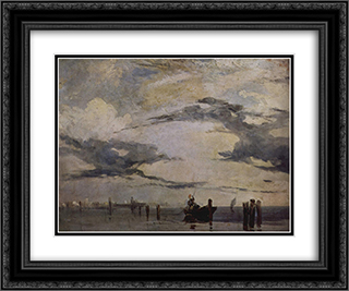 The Adriatic coast 24x20 Black or Gold Ornate Framed and Double Matted Art Print by Richard Parkes Bonington