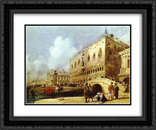 The Doge's Palace, Venice 24x20 Black or Gold Ornate Framed and Double Matted Art Print by Richard Parkes Bonington