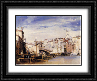 The Rialto, Venice 24x20 Black or Gold Ornate Framed and Double Matted Art Print by Richard Parkes Bonington