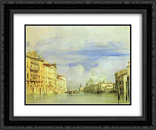 Venice. The Grand Canal. 24x20 Black or Gold Ornate Framed and Double Matted Art Print by Richard Parkes Bonington