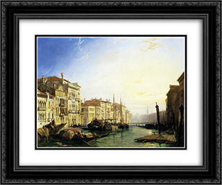 Venice Grand Canal, Sunset 24x20 Black or Gold Ornate Framed and Double Matted Art Print by Richard Parkes Bonington
