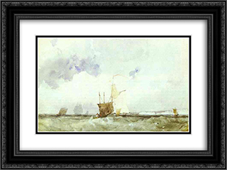 Vessels in a Choppy Sea 24x18 Black or Gold Ornate Framed and Double Matted Art Print by Richard Parkes Bonington