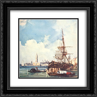 View of Venice 20x20 Black or Gold Ornate Framed and Double Matted Art Print by Richard Parkes Bonington