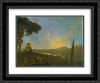 A View of the Tiber with Rome in the Distance 24x20 Black or Gold Ornate Framed and Double Matted Art Print by Richard Wilson