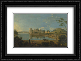 Caernarvon Castle 24x18 Black or Gold Ornate Framed and Double Matted Art Print by Richard Wilson