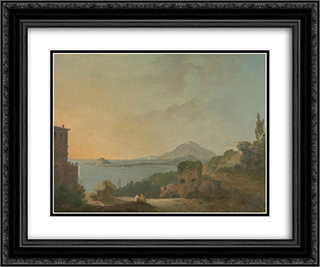 Cicero's Villa and the Gulf of Pozzuoli 24x20 Black or Gold Ornate Framed and Double Matted Art Print by Richard Wilson