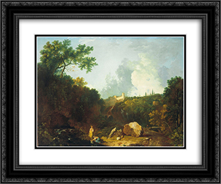 Distant View of Maecenas' Villa, Tivoli 24x20 Black or Gold Ornate Framed and Double Matted Art Print by Richard Wilson