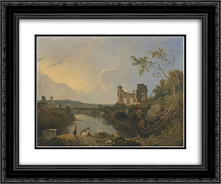 Italian Landscape (Morning) 24x20 Black or Gold Ornate Framed and Double Matted Art Print by Richard Wilson