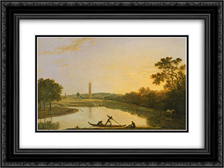 Kew Gardens The Pagoda and Bridge 24x18 Black or Gold Ornate Framed and Double Matted Art Print by Richard Wilson
