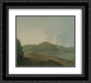 Lago d'Agnano with the Grotta del Cane 22x20 Black or Gold Ornate Framed and Double Matted Art Print by Richard Wilson