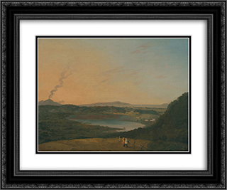 Lago d'Agnano with Vesuvius in the distance 24x20 Black or Gold Ornate Framed and Double Matted Art Print by Richard Wilson