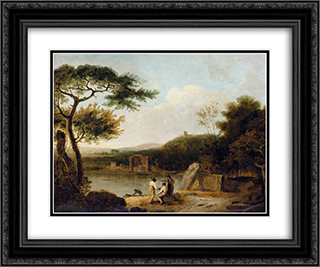 Lake Avernus I 24x20 Black or Gold Ornate Framed and Double Matted Art Print by Richard Wilson