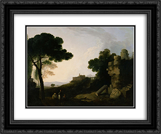 Landscape Capriccio with Tomb of the Horatii and Curiatii, and the Villa of Maecenas at Tivoli 24x20 Black or Gold Ornate Framed and Double Matted Art Print by Richard Wilson