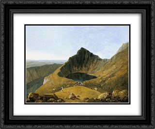 Llyn-y-Cau, Cader Idris 24x20 Black or Gold Ornate Framed and Double Matted Art Print by Richard Wilson