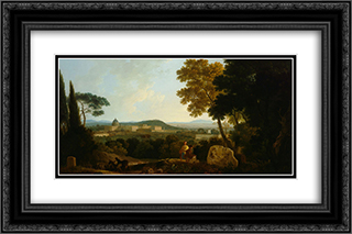 St Peters and the Vatican from the Janiculum, Rome 24x16 Black or Gold Ornate Framed and Double Matted Art Print by Richard Wilson