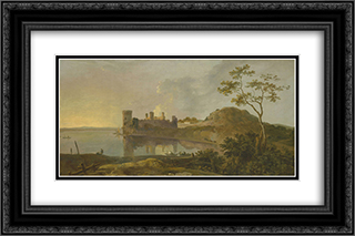 Summer Evening (Caernarvon Castle) 24x16 Black or Gold Ornate Framed and Double Matted Art Print by Richard Wilson