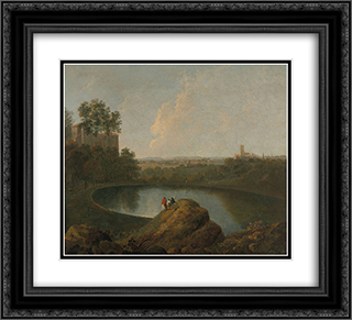 The Head of Lake Nemi 22x20 Black or Gold Ornate Framed and Double Matted Art Print by Richard Wilson
