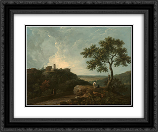 Tivoli The Temple of the Sybil and the Campagna 24x20 Black or Gold Ornate Framed and Double Matted Art Print by Richard Wilson