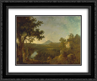 View near Wynnstay, the Seat of Sir Watkin Williams-Wynn, BT. 24x20 Black or Gold Ornate Framed and Double Matted Art Print by Richard Wilson