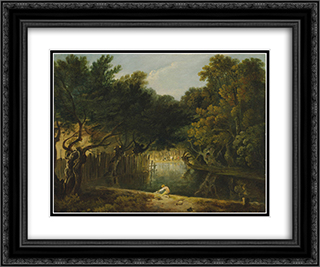 View of the Wilderness in St. James's Park 24x20 Black or Gold Ornate Framed and Double Matted Art Print by Richard Wilson