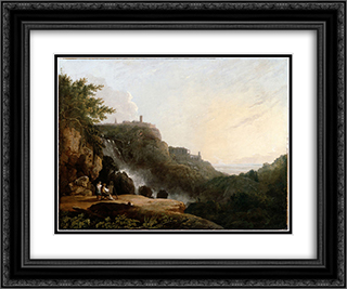 View of Tivoli the Cascatelle and the 'Villa of Maecenas' 24x20 Black or Gold Ornate Framed and Double Matted Art Print by Richard Wilson