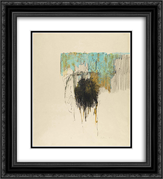 Blue and Ochre 20x22 Black or Gold Ornate Framed and Double Matted Art Print by Richards Ruben