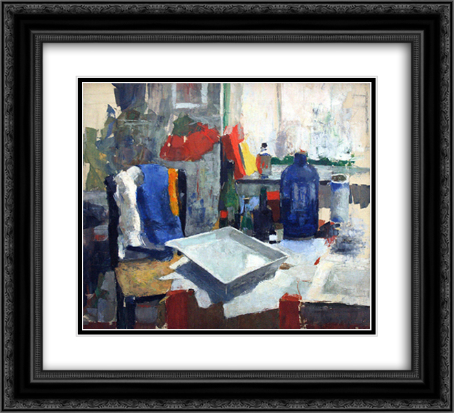 Dining Table 22x20 Black or Gold Ornate Framed and Double Matted Art Print by Rik Wouters