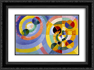 Circular Forms 24x18 Black or Gold Ornate Framed and Double Matted Art Print by Robert Delaunay