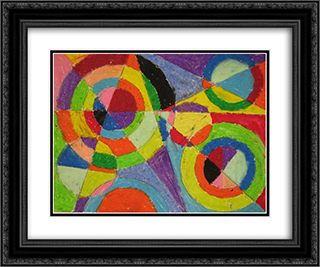 Color Explosion 24x20 Black or Gold Ornate Framed and Double Matted Art Print by Robert Delaunay