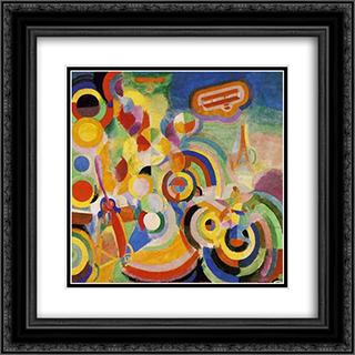 Homage to Bleriot 20x20 Black or Gold Ornate Framed and Double Matted Art Print by Robert Delaunay