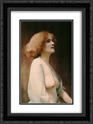Female nude draped in a blue veil 18x24 Black or Gold Ornate Framed and Double Matted Art Print by Robert Demachy