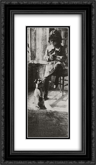 Jack and His Dog 14x24 Black or Gold Ornate Framed and Double Matted Art Print by Robert Demachy