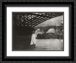 Le Pont des Arts 24x20 Black or Gold Ornate Framed and Double Matted Art Print by Robert Demachy