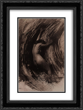 Struggle 18x24 Black or Gold Ornate Framed and Double Matted Art Print by Robert Demachy