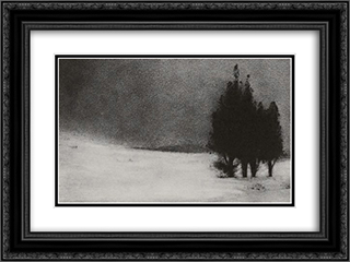 Three Trees in a Snowy Landscape 24x18 Black or Gold Ornate Framed and Double Matted Art Print by Robert Demachy