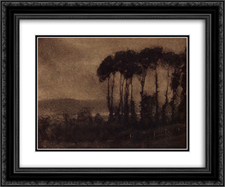 Touques Valley 24x20 Black or Gold Ornate Framed and Double Matted Art Print by Robert Demachy