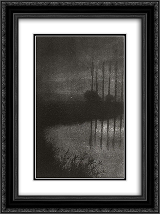 Twilight near Croissy 18x24 Black or Gold Ornate Framed and Double Matted Art Print by Robert Demachy