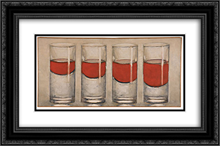 Glasses 24x16 Black or Gold Ornate Framed and Double Matted Art Print by Roberto Sambonet