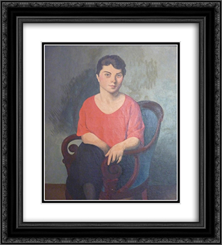 A Romanian 20x22 Black or Gold Ornate Framed and Double Matted Art Print by Roger de La Fresnaye