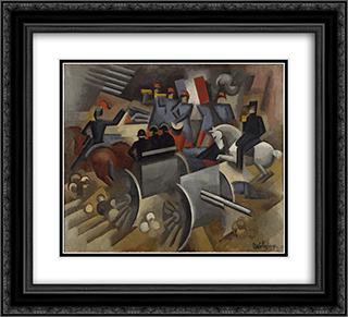 Artillery 22x20 Black or Gold Ornate Framed and Double Matted Art Print by Roger de La Fresnaye