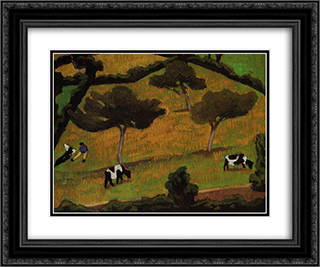 Cows in a Meadow 24x20 Black or Gold Ornate Framed and Double Matted Art Print by Roger de La Fresnaye