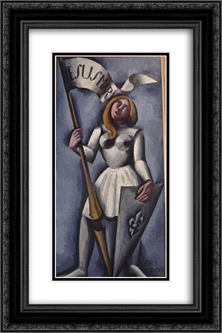 Joan of Arc 16x24 Black or Gold Ornate Framed and Double Matted Art Print by Roger de La Fresnaye