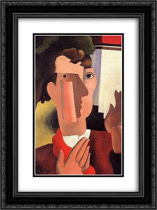 Man with a Red Kerchief 18x24 Black or Gold Ornate Framed and Double Matted Art Print by Roger de La Fresnaye