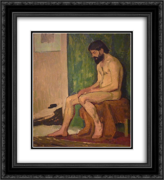 Seated bearded man 20x22 Black or Gold Ornate Framed and Double Matted Art Print by Roger de La Fresnaye