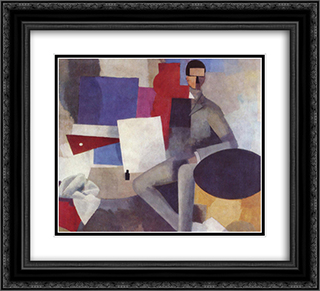 Seated man 22x20 Black or Gold Ornate Framed and Double Matted Art Print by Roger de La Fresnaye