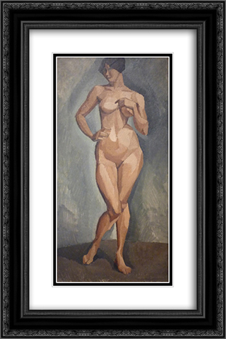 Standing nude from the front 16x24 Black or Gold Ornate Framed and Double Matted Art Print by Roger de La Fresnaye