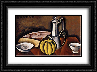 Still Life with Coffee Pot and Melon 24x18 Black or Gold Ornate Framed and Double Matted Art Print by Roger de La Fresnaye